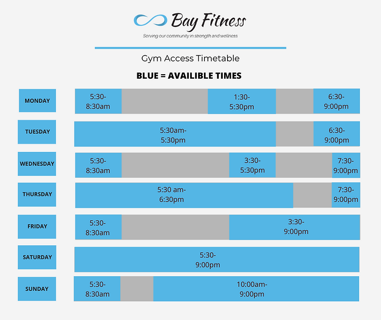 Bay Fitness timetable gym access 2021 up
