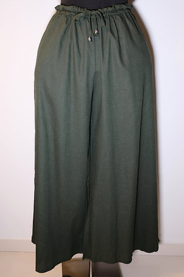 Cotton Linen Metal Drawstring Long Pant
