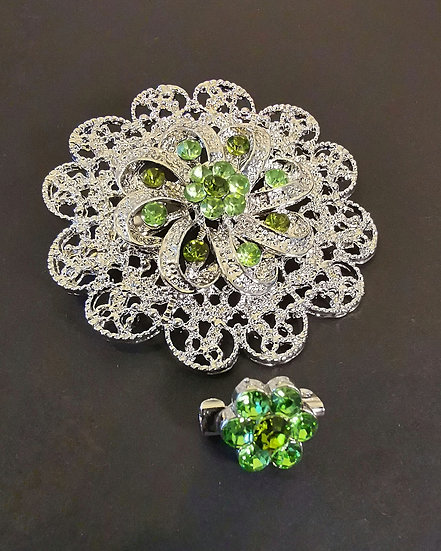 Neo Diamond Emerald Brooch and Pin