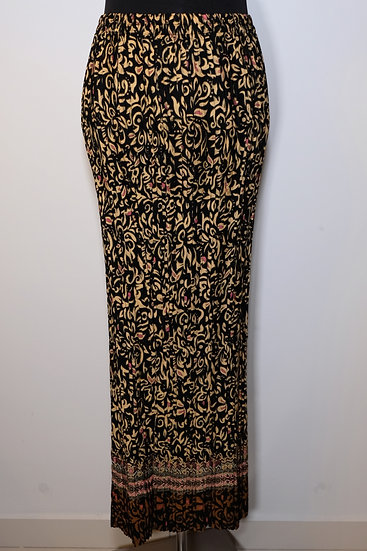 Black Pale Yellow Cotton Poly Pattern Skirt