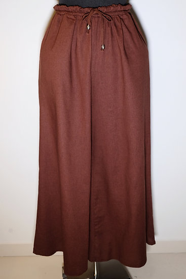 Cotton Linen Metal Acc Drawstring Long Pant
