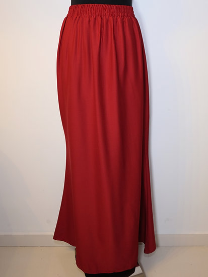 Red Polyester Long Skirt