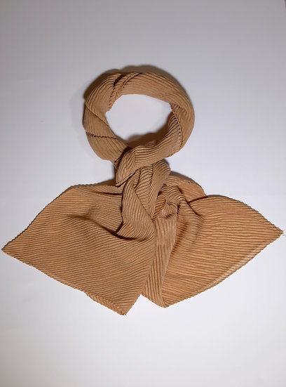 Maven Light Brown Pleated Scarf