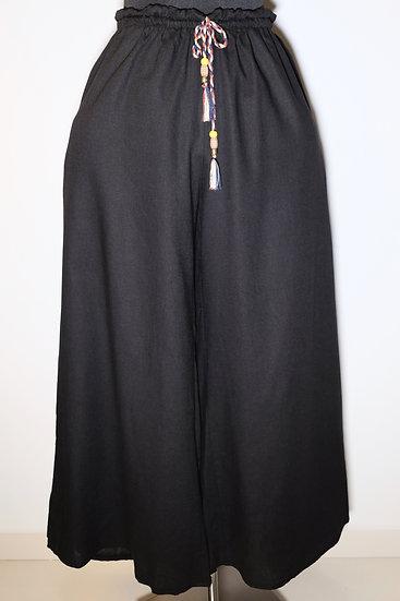 Cotton Linen Mix Acc Drawstring Long Pant