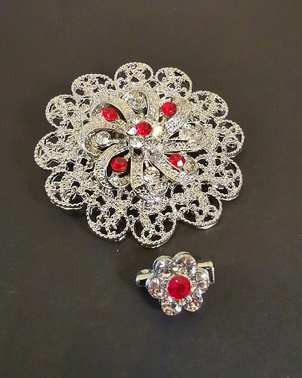 Karma Diamond Ruby Flowers Brooch and Pin
