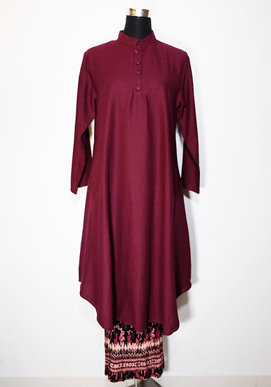 Cotton Linen Nehru Collar Tunic and Pattern Skirt