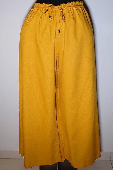 Cotton Linen Metal Acc Drawstring Long Pant