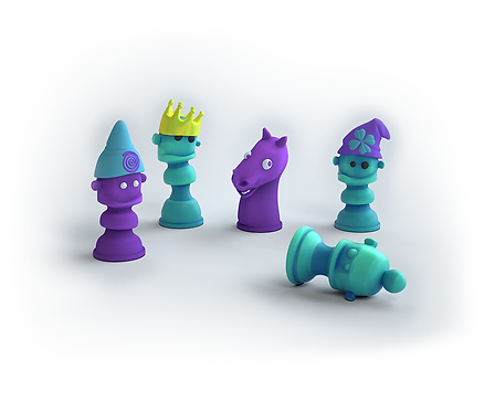 chess pieces for children on a vertical chessboard
