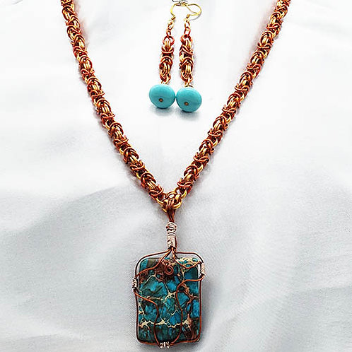 Wrapped Turquoise Pendant with Chainmaille Chain and Earrings