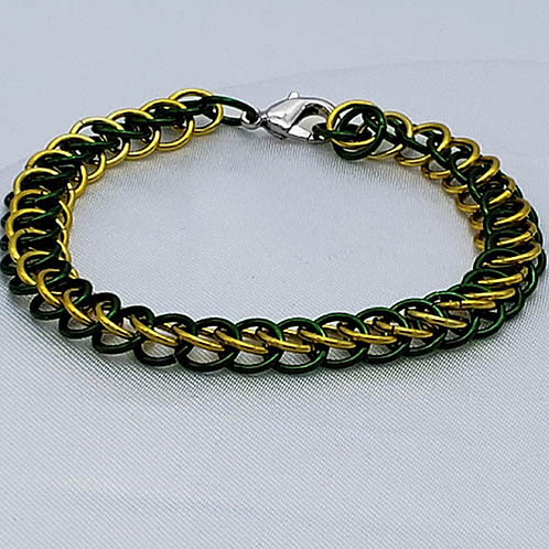 Black and Yellow Chainmaille Bracelet