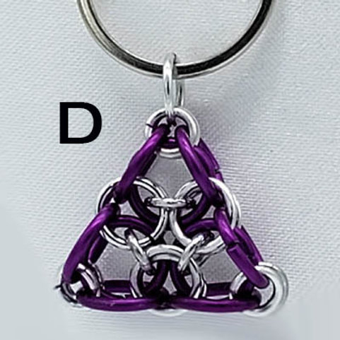 Bright Aluminum Triangle in Silver and Purple Keychain