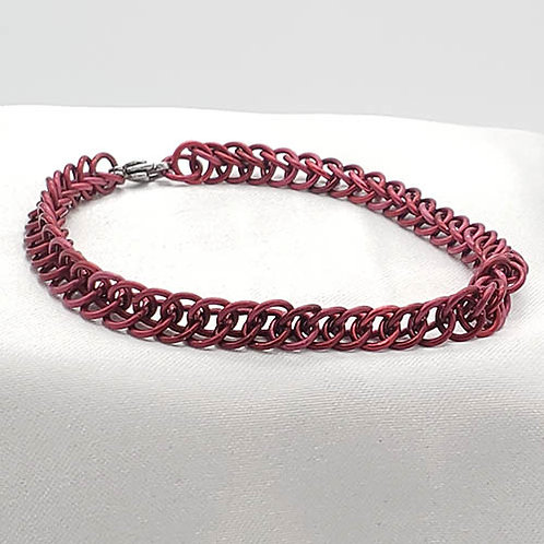 Titanium Chainmaille Bracelet in Soft Red
