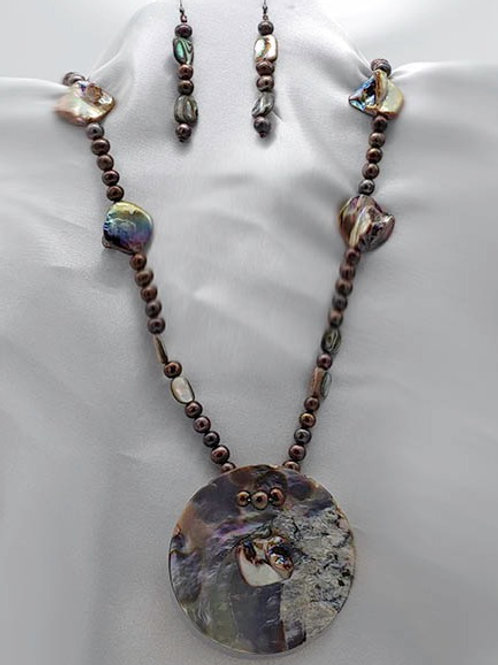 Abalone and Pearl Statement Jewelry Ensemble