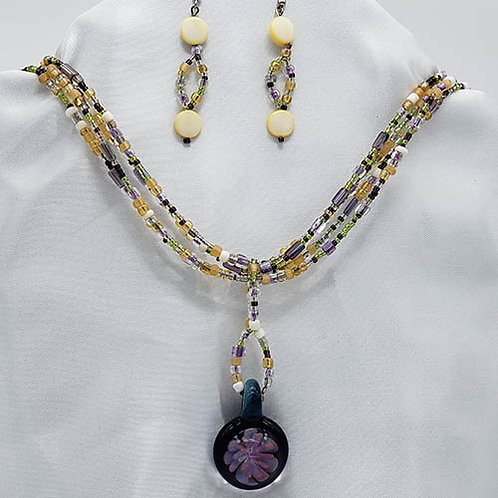 Beaded Chain with Captured Floral Pendant