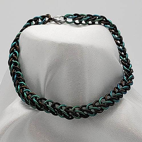 Titanium Soft Green and Brown Bracelet