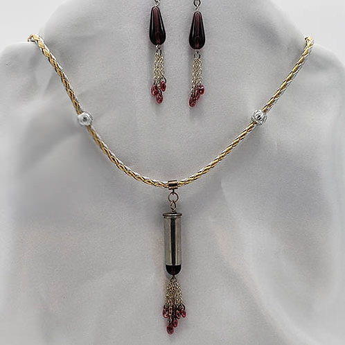 Necklace with 38Special caliber cartridges on leather