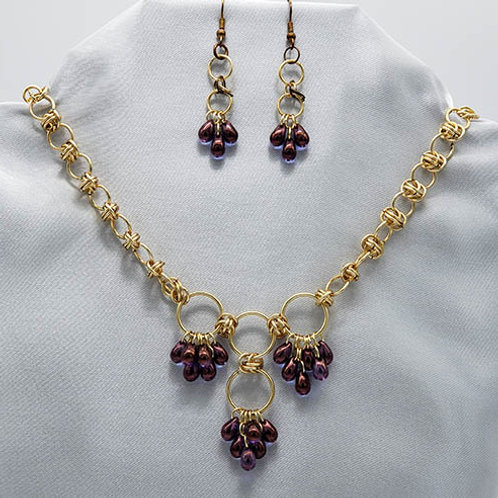 Beaded Chainmaille Necklace and Earrings