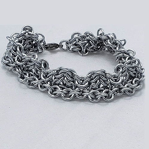 Bracelet Woven in Bright Titanium Metal