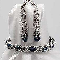 Bracelet Set - Silver Byzantine with Gla