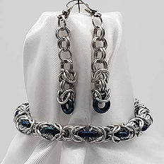Bracelet Set - Silver Byzantine with Gla