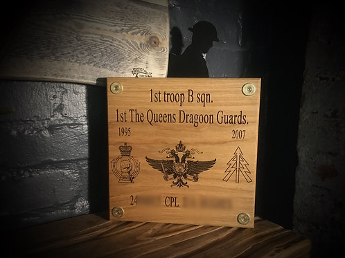 Large Oak Military Plaque