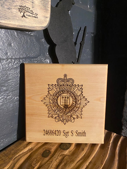 Small Personalised pine Military Plaque