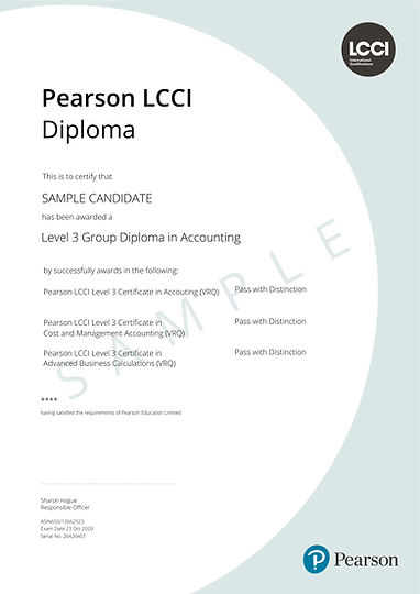 Pearson LCCI L3 Group Dip in Accounting.