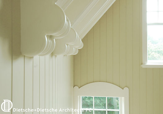 Traditional molding shapes are oversized to create a new take on Shingle-Style scale.