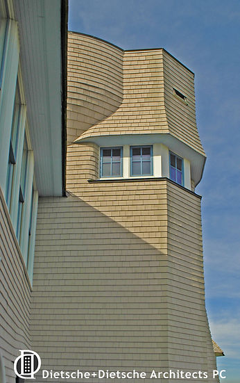 Contemporary shingle-style tower