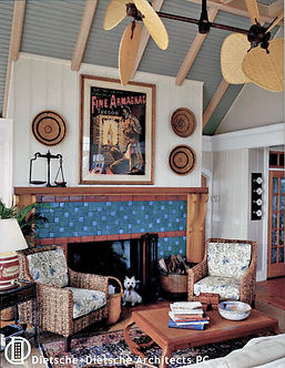 ceiling fans in cottage living room Dietsche + Dietsche