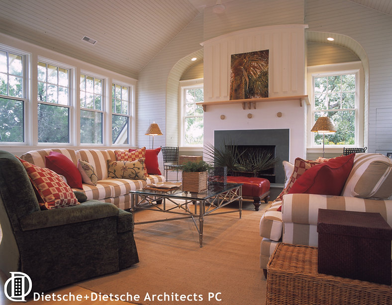 Curving lines top the mantle and window nooks, making the fireplace a beautiful focal point.