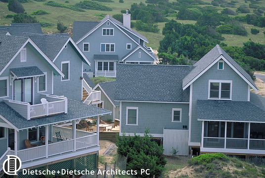 Porches and overlooks are sited to maximize solitary views of the ocean.
