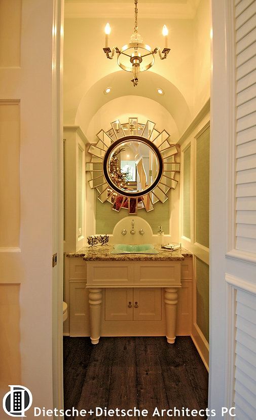 Caribbean Dream, Dietsche + Dietsche Architects, North CarolinaPowder room casts neo-classical elements in tropical colors.
