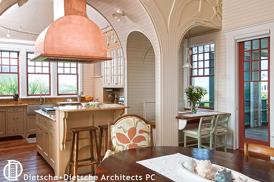A custom copper hood and contemporary fabrics combine with timeless details
