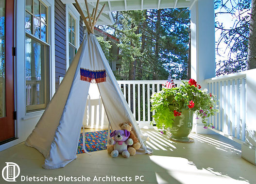 The corner of the main porch is an ideal place to pitch a play tent.