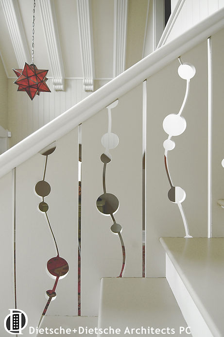 Contemporary cut outs create fanciful baluster