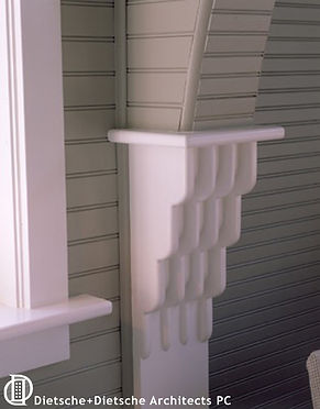 Woodwork details make the cottage interior memorable.
