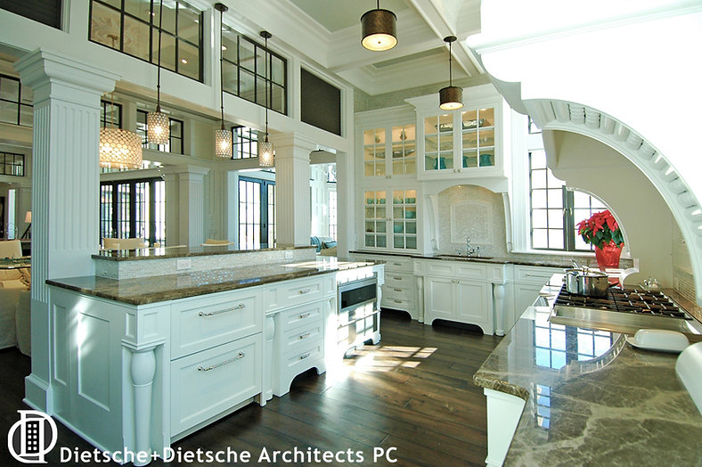 Caribbean Dream, Dietsche + Dietsche Architects, North Carolina contemporary white kitchen alludes to 18th -century hearths and neo-classical design.
