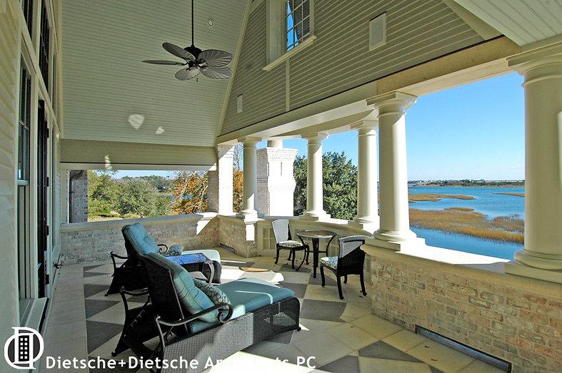 Caribbean Dream, Dietsche + Dietsche Architects, North Carolina second floor porch frames spectacular views over the marshland.