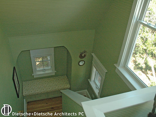 Beaded board stairway in perfect green Dietsche + Dietsche Architects PC