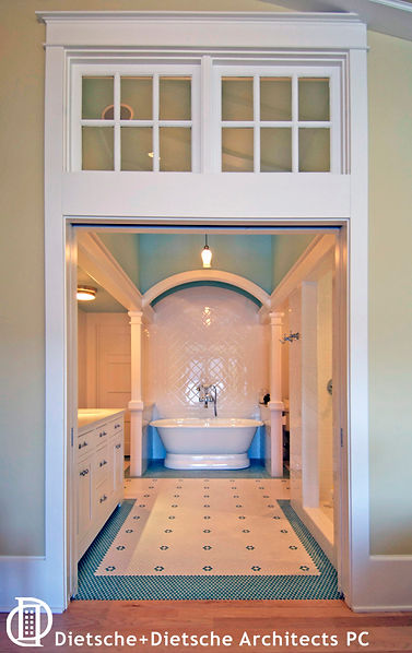 The master bath at Cottage on a Lake marries lake-camp style with classic elegance.