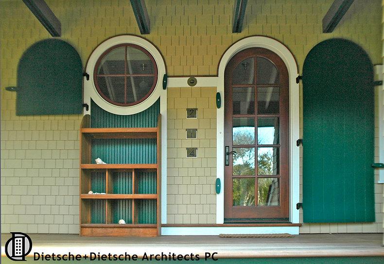 circular window with shutter arched door door