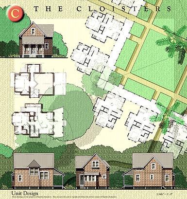 Plans show cottage layout in original plan for Surfman's Walk Baldhead Island