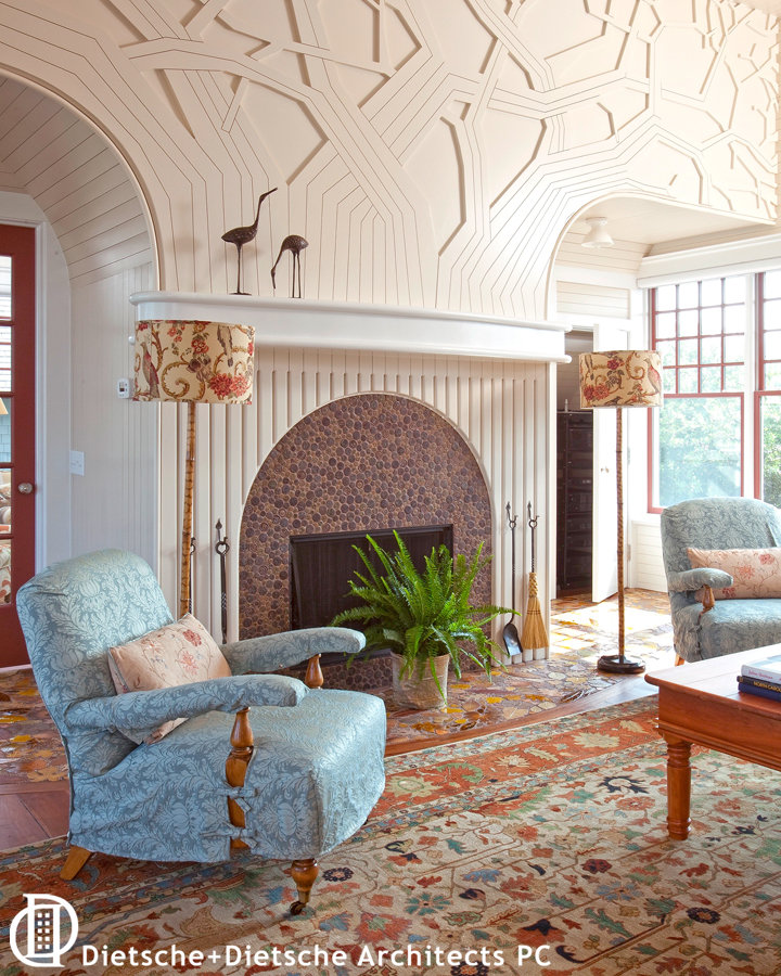 A tree-inspired mantle with a sweeping circular hearth brings the outside in with magical subtlety.