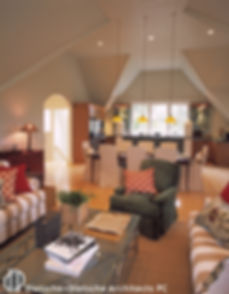 An upside down floor plan allows the main room ceiling to reach for the roof.