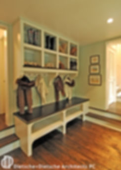"A seaside take on an old fashioned mudroom, the ""sandroom"" welcomes the family from the beach."