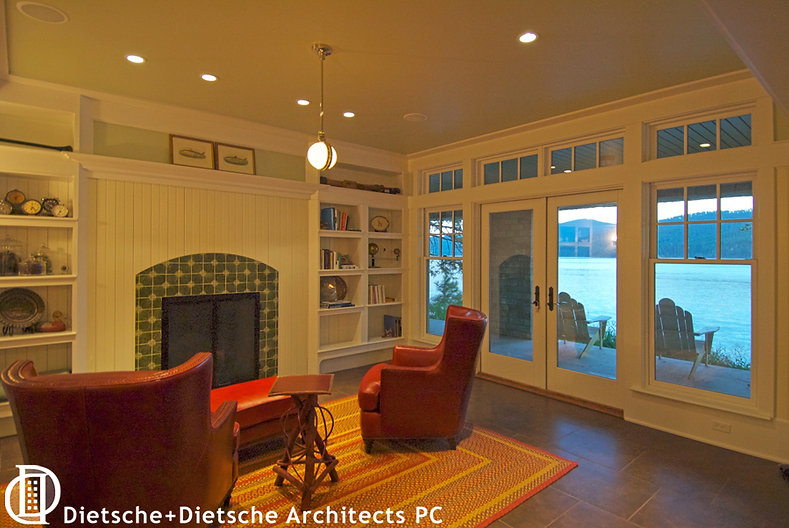 The lake beckons from this first-floor office at Cottage on a Lake.