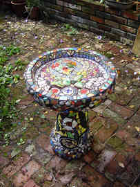 """Fire Flower"" Birdbath (Sold)"