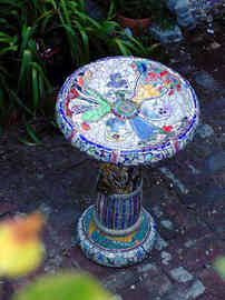 """Flowers in the Vases"" Birdbath (Sold)"