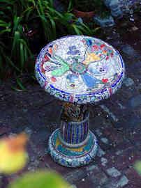 """Flowers in the Vases"" Birdbath (Sold)"
